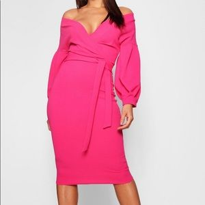 Pink midi wrap dress